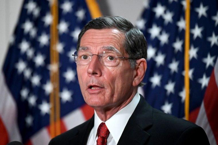 Image: U.S. Senator John Barrasso speaks to reporters on Capitol Hill in Washington