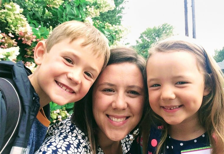 """Taryn Southard, a second grade teacher seen here with her son, Cassian, and daughter, Isla.""""This is 100 percent a traumatic event, even under the best of circumstances, for kids at home,"""" Southard said of the abrupt shift to remote learning."""