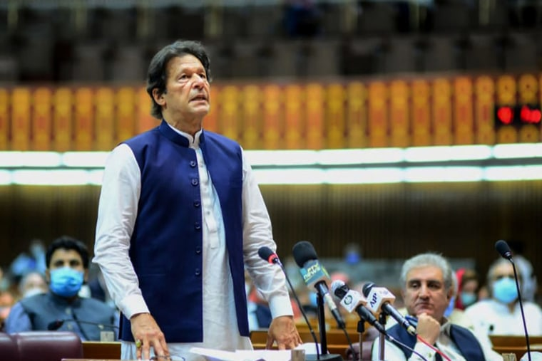 Image: Pakistan's Prime Minister Imran Khan speaks during the National Assembly session in Islamabad