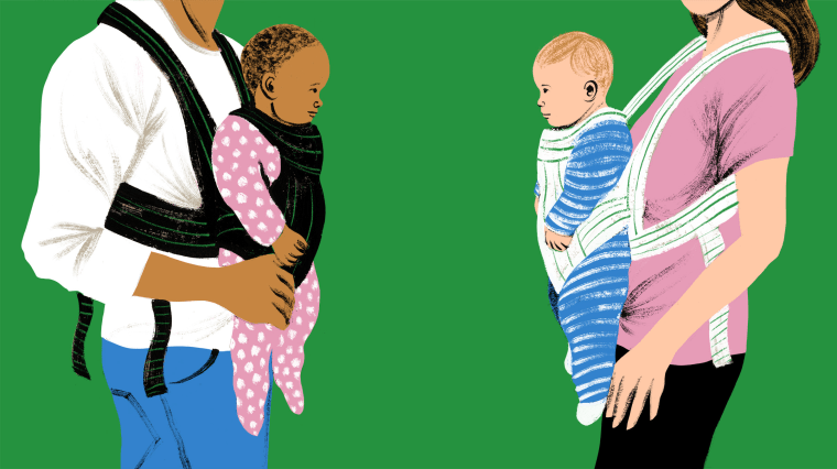 Illustration of two parents, one white and one Black, holding their babies in baby carriers looking at each other.