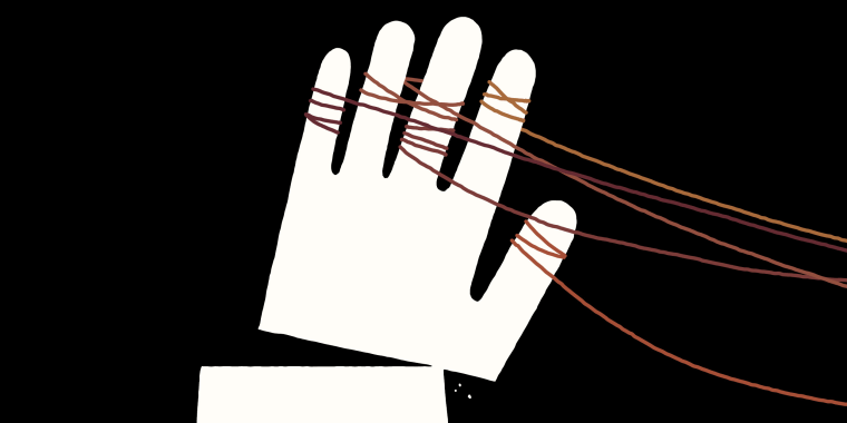 Illustration of white hand being pulled down by ropes.