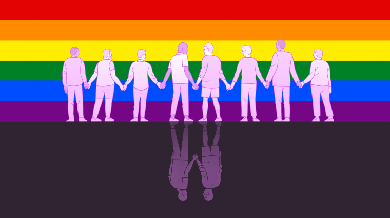 Illustration of two men holding hands in front of a Pride flag, on each side they are holding the hands of other people.