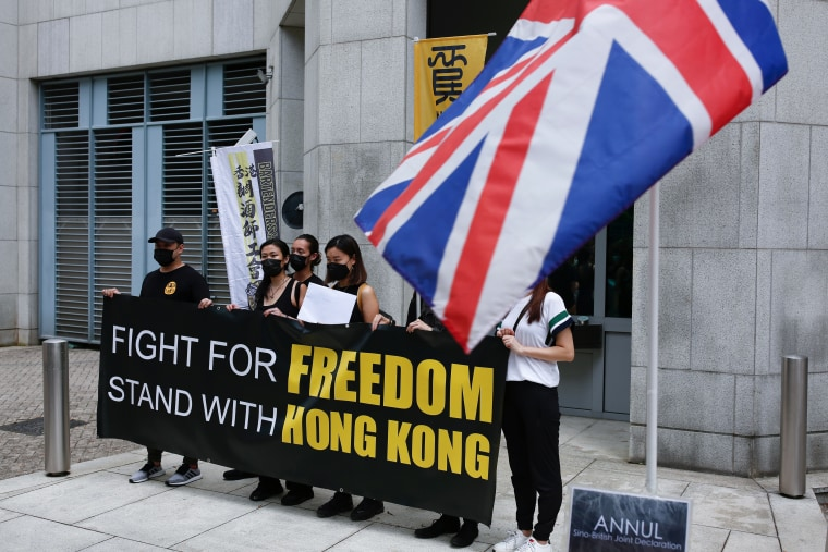 Image: Union groups submit petition letters to British Consulate General to express their determination of opposing the new national security law, in Hong Kong