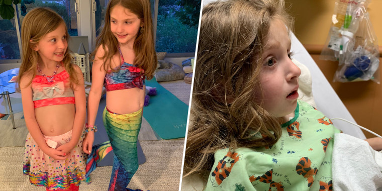 Annabelle Lisberg almost drowned while wearing a mermaid tail swimsuit and playing in a kiddie pool with her older sister, Ruby.