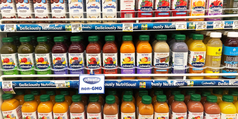 Alameda, CA - Dec 18, 2019: Grocery store shelves with bottles of odwalla brand non GMO beverages in various flavors.; Shutterstock ID 1592590435; Purchase Order: -; Segment/Job: -; Client/Licensee: -