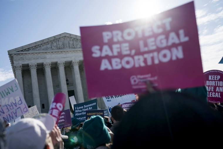 Images: People gather for an abortion rights rally outside of the Supreme Court in Washington on March 4, 2020.