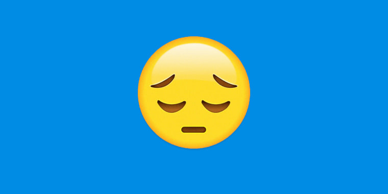 Image: An unhappy emoji on a blue background.