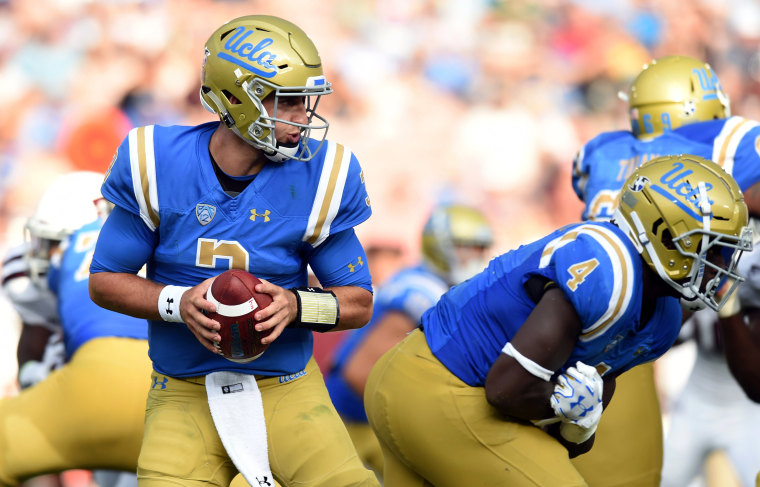 Image: UCLA player Josh Rosen drops a pass back during a game against Texas A&M at the Rose Bowl in Pasadena, Calif., on Sept. 3, 2017.