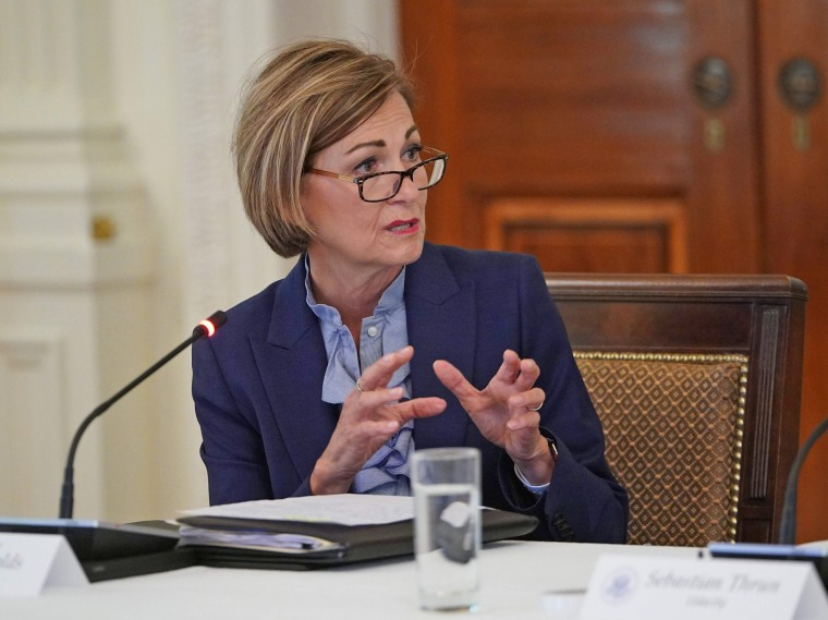 Iowa Gov. Kim Reynolds speaks during a meeting at the White House on June 26, 2020.