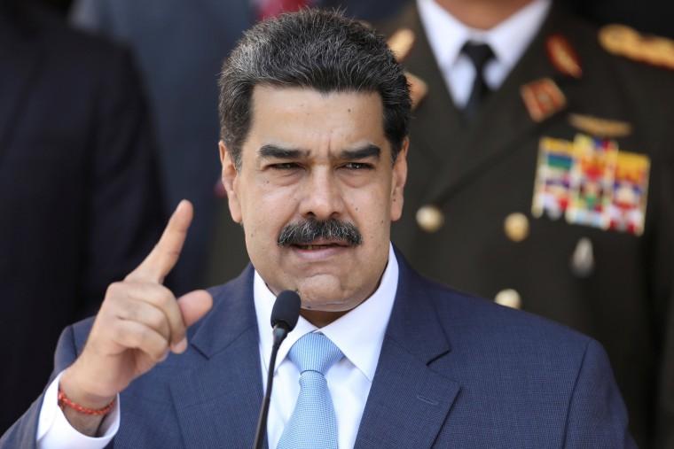 Image: Venezuela's President Nicolas Maduro speaks during a news conference at Miraflores Palace in Caracas, Venezuela