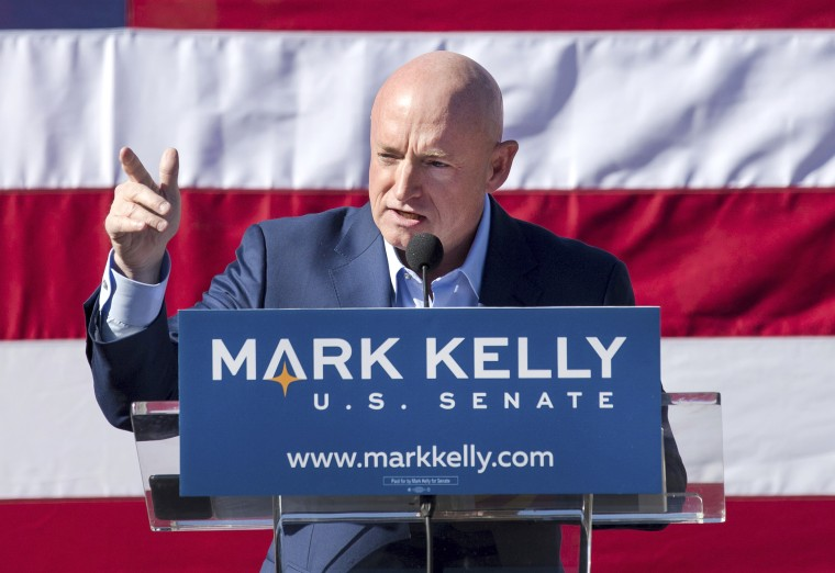 Mark Kelly speaks during his senate campaign kickoff event in Tucson, Ariz. on Feb. 23, 2019.