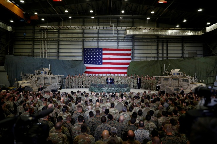 Image: President Donald Trump makes an unannounced visit to U.S. troops at Bagram Air Base in Afghanistan