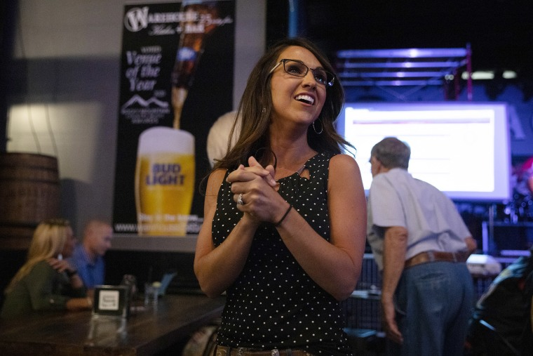Image: Lauren Boebert waits for returns during a watch party in Grand Junction, Colo