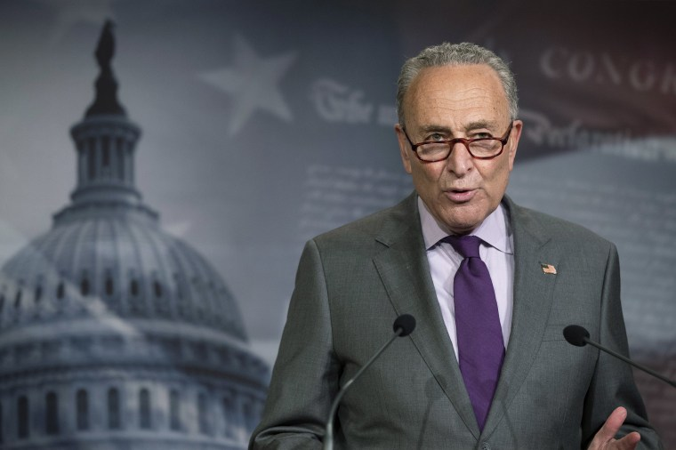 Image: Senate Minority Leader Chuck Schumer of N.Y., speaks during a news conference on Capitol Hill