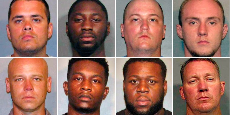 From left, top row: Police officers Aaron Jaudon, D'Andre Jackson, Mark Ordoyne and William Isenhour. Bottom row: Police officers Christopher McConnell, Brandon Walker, Treveion Brooks and David Francis.