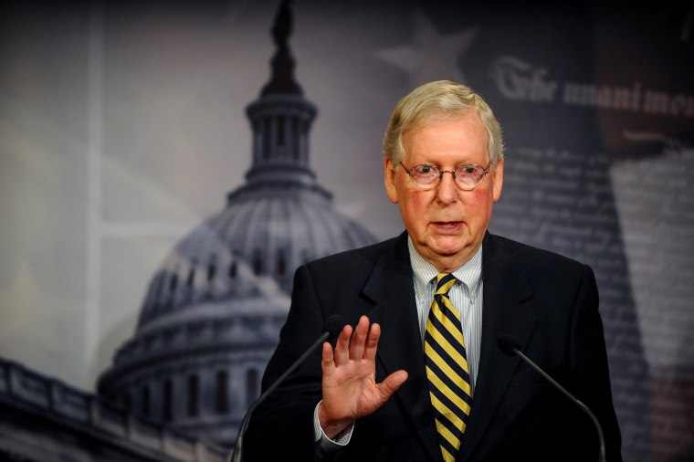 U.S. Senate Majority Leader Mitch McConnell speaks to the media in Washington, D.C., on March 22, 2020.