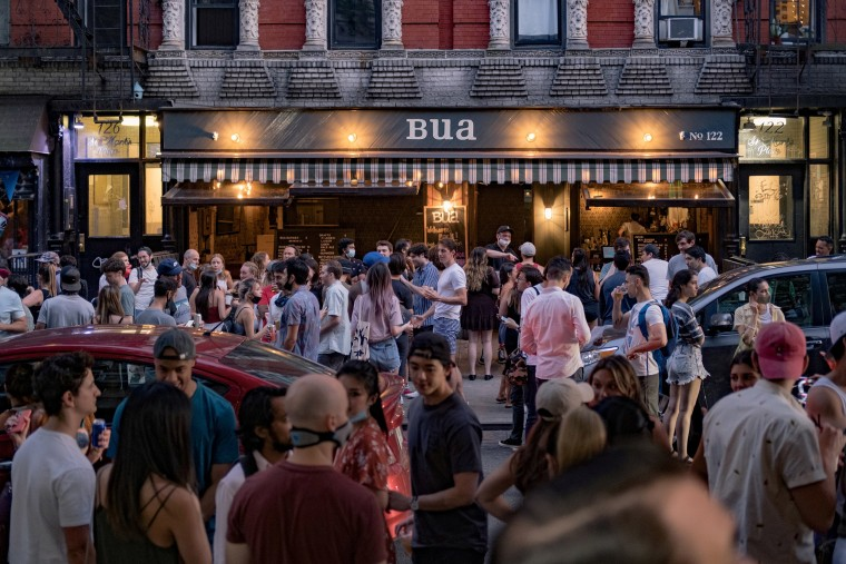 Image: A bar in the East Village neighborhood in New York City on June 12, during the reopening phase of the city's coronavirus outbreak.