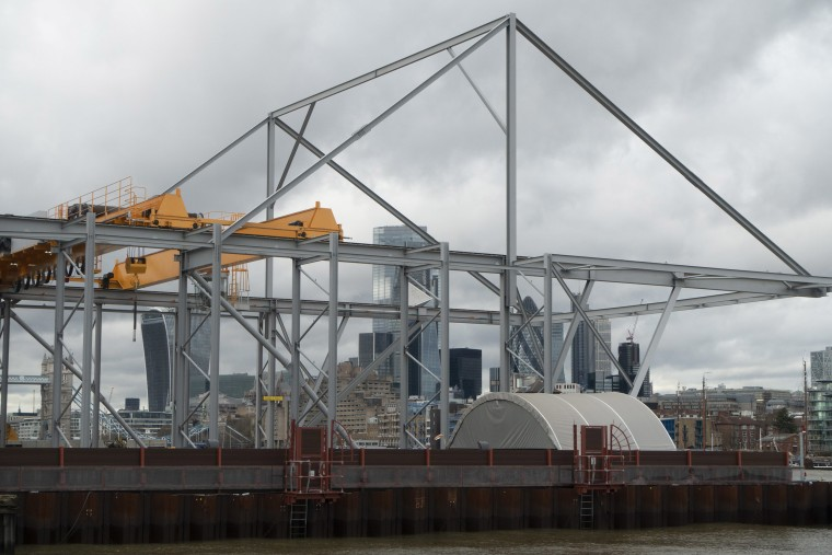 Image: Construction site in Rotherhithe underway on the Thames Tideway Tunnel or Super Sewer close to the City of London .