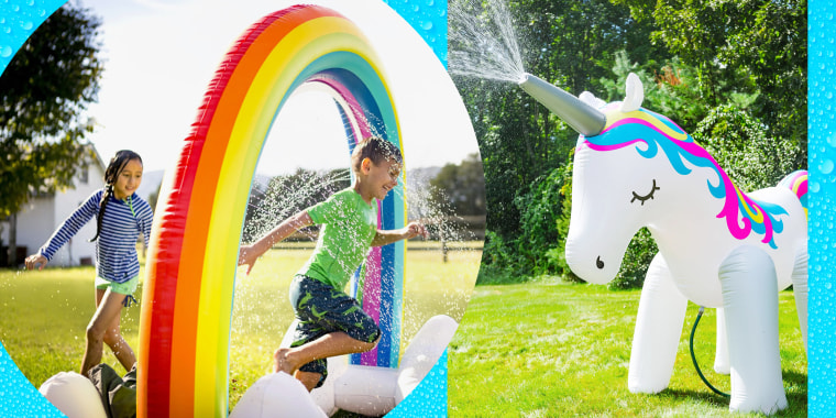 Water sprinklers for kids have come a long way. You no longer need to set up the regular backyard sprinkler that waters your yard — you can now set one up that's in the shape of a unicorn, dinosaur, rainbow or other bright and fun shape.