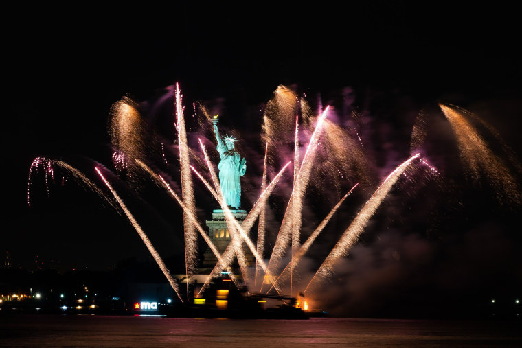 Fireworks explode over the Statue of Liberty on June 30 in New York City.