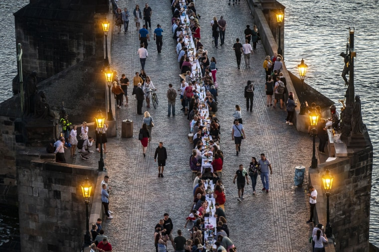 Image: *** BESTPIX *** Prague Welcomes Summer With Al Fresco Dinner Party At Charles Bridge