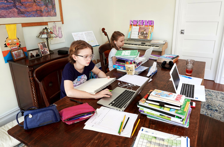School children working from home during the Coronavirus lockdown, New York, NY
