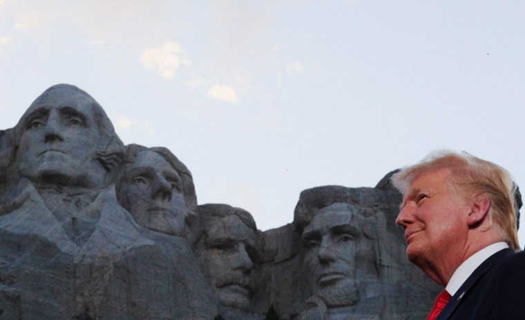 Image: U.S. President Trump and first lady Melania Trump attend South Dakota's U.S. Independence Day Mount Rushmore fireworks celebrations at Mt. Rushmore in South Dakota