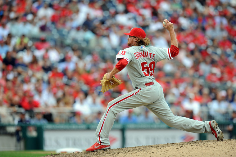 Image: Tyson Brummett #59 of the Philadelphia Phillies pitches in his major league debut against the Washington Nationals at Nationals Park.