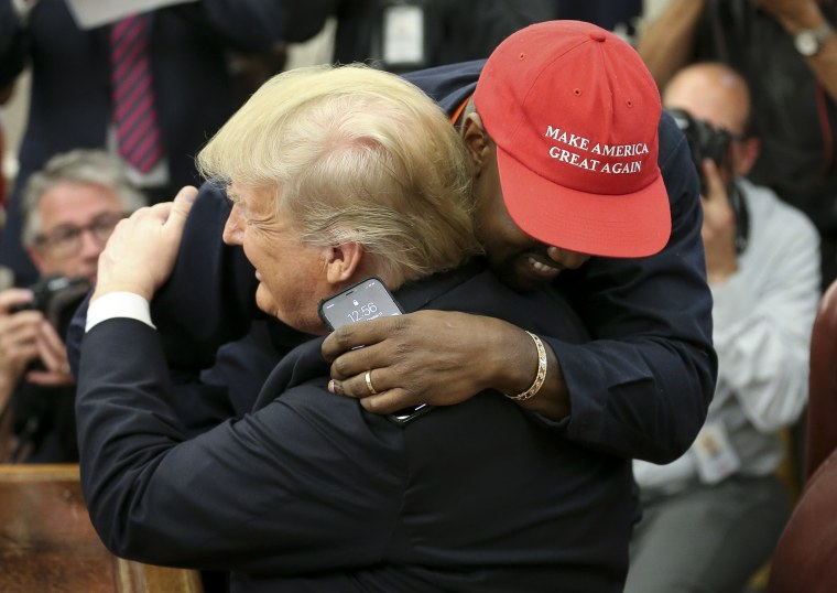 Image: FILE: Kanye West Announced He Is Running For President Of The United States President Trump Hosts Kanye West And Former Football Player Jim Brown At The White House