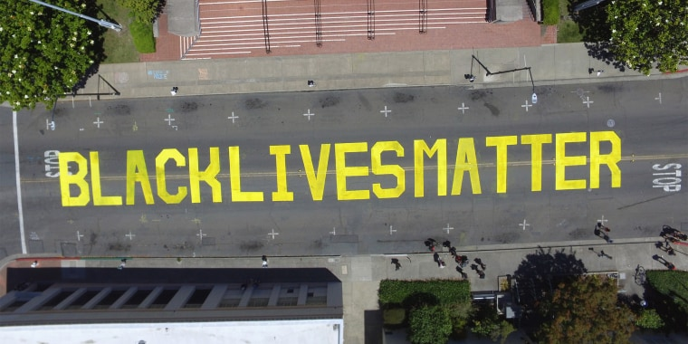 An aerial view of the BLM mural in Martinez, California.