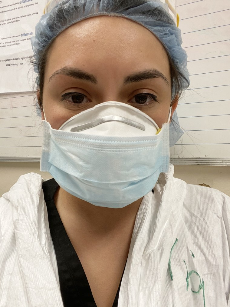 Garcia in the personal protective equipment she wears when caring for coronavirus patients.