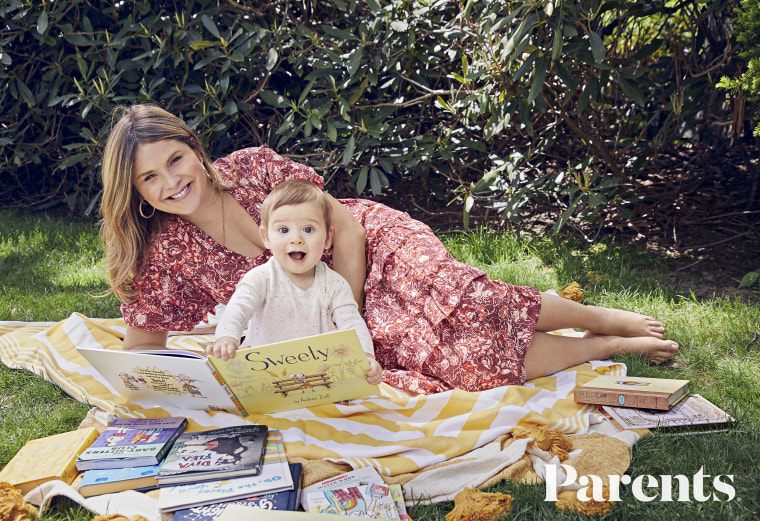 Smile! Jenna Bush Hager and baby son Hal pour over books for a photo in Parents magazine.