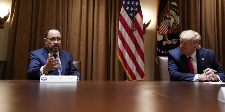 President Donald Trump listens as Robert Unanue of Goya Foods speaks during a roundtable meeting with Latino leaders at the White House on Thursday.