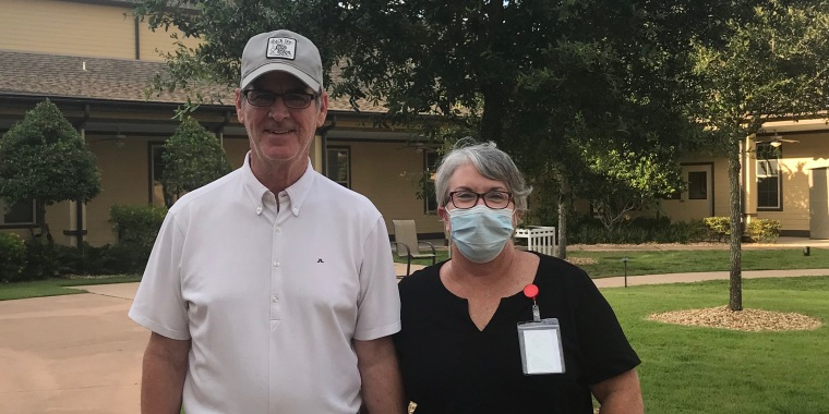 Steve and Mary Daniel have been married for 24 years. They were separated in March after Florida barred visitors to nursing homes and care centers during the coronavirus pandemic but now Mary has found a way to see Steve again.