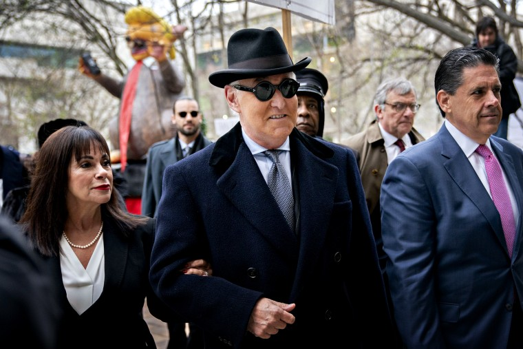 Image: Roger Stone arrives with his wife, Nydia, for his sentencing hearing at federal court in Washington on Feb. 20, 2020.