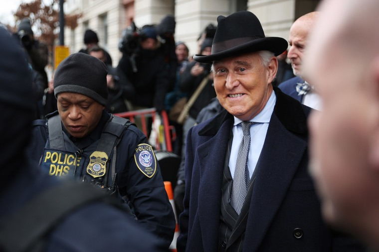 Image: Roger Stone, former adviser and confidante to President Donald Trump, leaves the Federal District Court for the District of Columbia after being sentenced