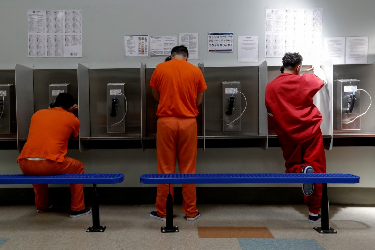 Detainees at the Adelanto ICE Processing Center in Adelanto, Calif., in 2019.