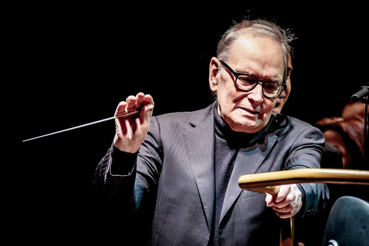 Image: Ennio Morricone performs on stage in Milan, Italy.