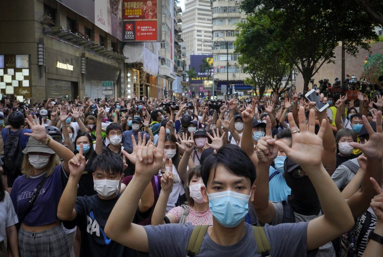 Image: Protesters demonstrate against a new national security law in Hong Kong on July 1, 2020.