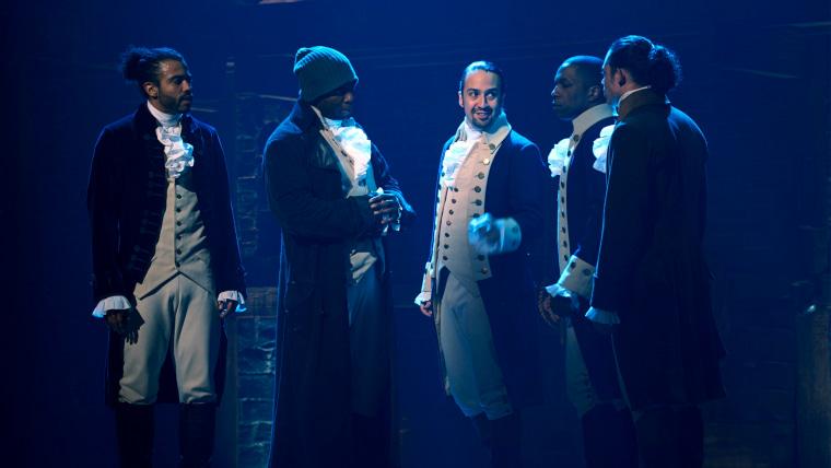 "Daveed Diggs as the Marquis de Lafayette, Okieriete Onaodowan as Hercules Mulligan, Lin-Manuel Miranda as Alexander Hamilton, Leslie Odom Jr. as Aaron Burr and Anthony Ramos as John Laurens in ""Hamilton,"" the filmed version of the original Broadway production."