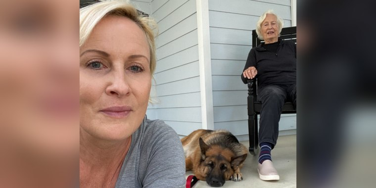 Mika Brzezinski and her mom, Emilie, spending time together on the porch during the coronavirus pandemic.