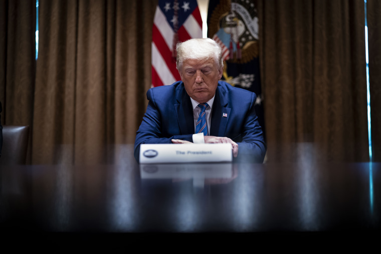 President Donald Trump listens during a round-table discussion at the White House on June 15, 2020 in Washington, DC.
