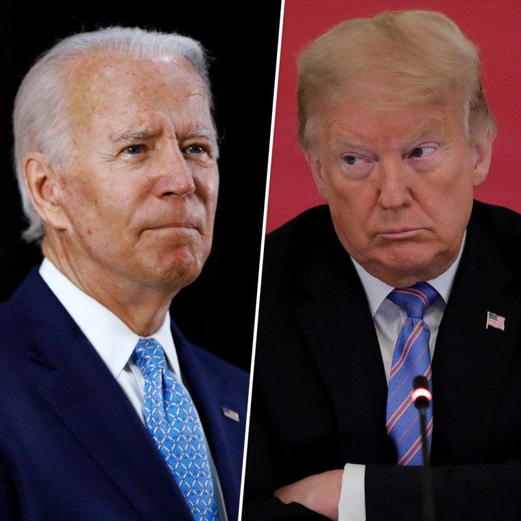 Former Vice President Joe Biden; President Donald Trump.