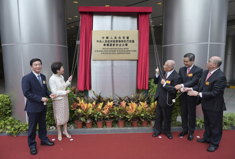Image: An opening ceremony for the China's new Office for Safeguarding National Security in Hong Kong