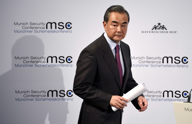 Image: Chinese State Councilor and Foreign Minister Wang Yi delivers a speech on the second day of the Munich Security Conference in Munich.