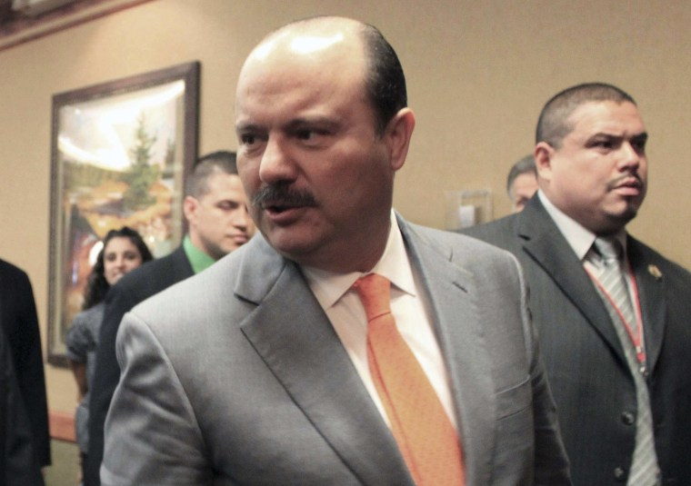 Image: Governor of the northern Mexican border state of Chihuahua Cesar Duarte attends the 30th annual Border Governors Conference in Albuquerque, N.M.