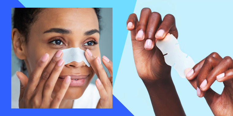 Pore strip for nose, pore strip for chin and pore strip for forehead to remove blackheads on the face of a woman.