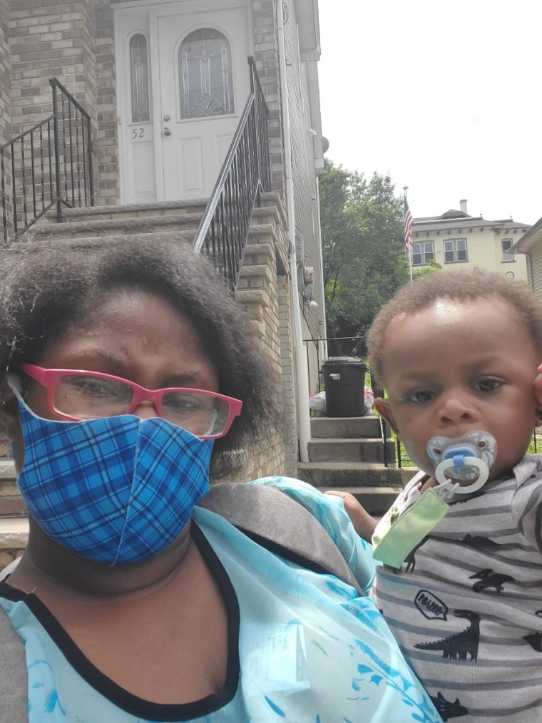 Hope Gilmore, of Staten Island, New York, with her son Anwill Evans Eaddy, 1.