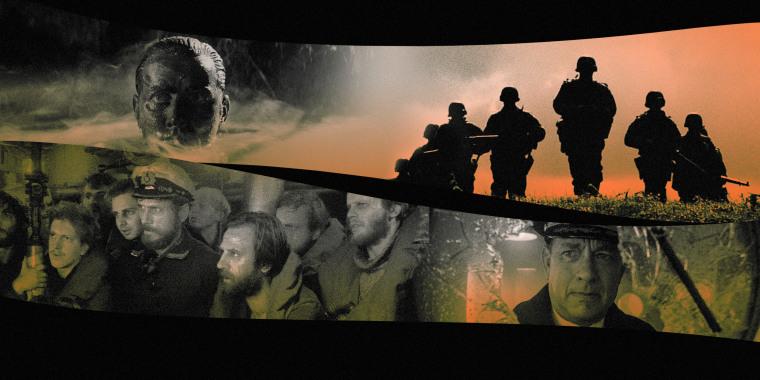 "Image: Stills of movies ""Apocalypse Now;"" ""Das Boot;"" ""Saving Private Ryan"" and ""Greyhound."""