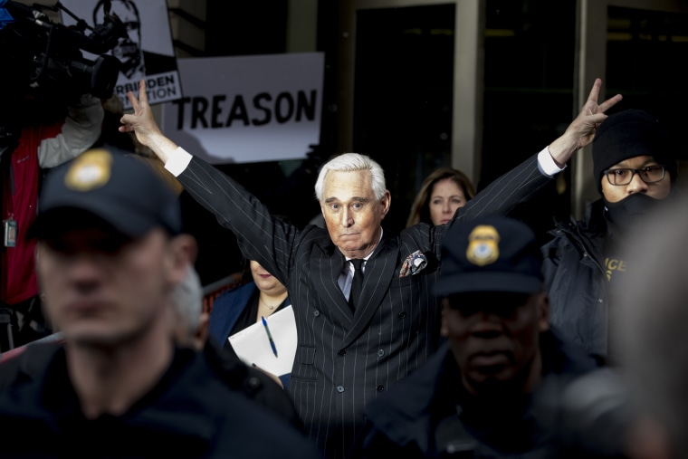 Roger Stone leaves the Federal Court building in Washington, D.C., on Feb. 1, 2019.